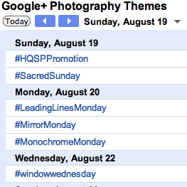 Who is Google+ Photography Themes Google Calendar?